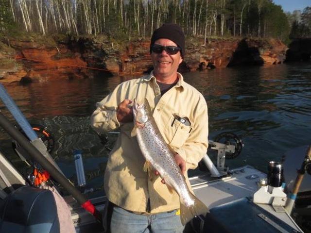 Mike Salmon Fishing Lake Superior 4 x 6
