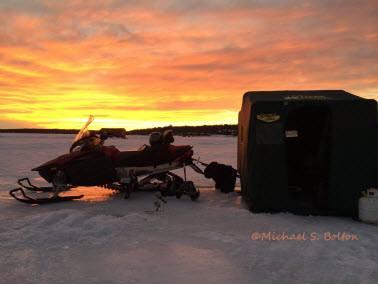 Sunset Leech Lake Snowmobile 2014